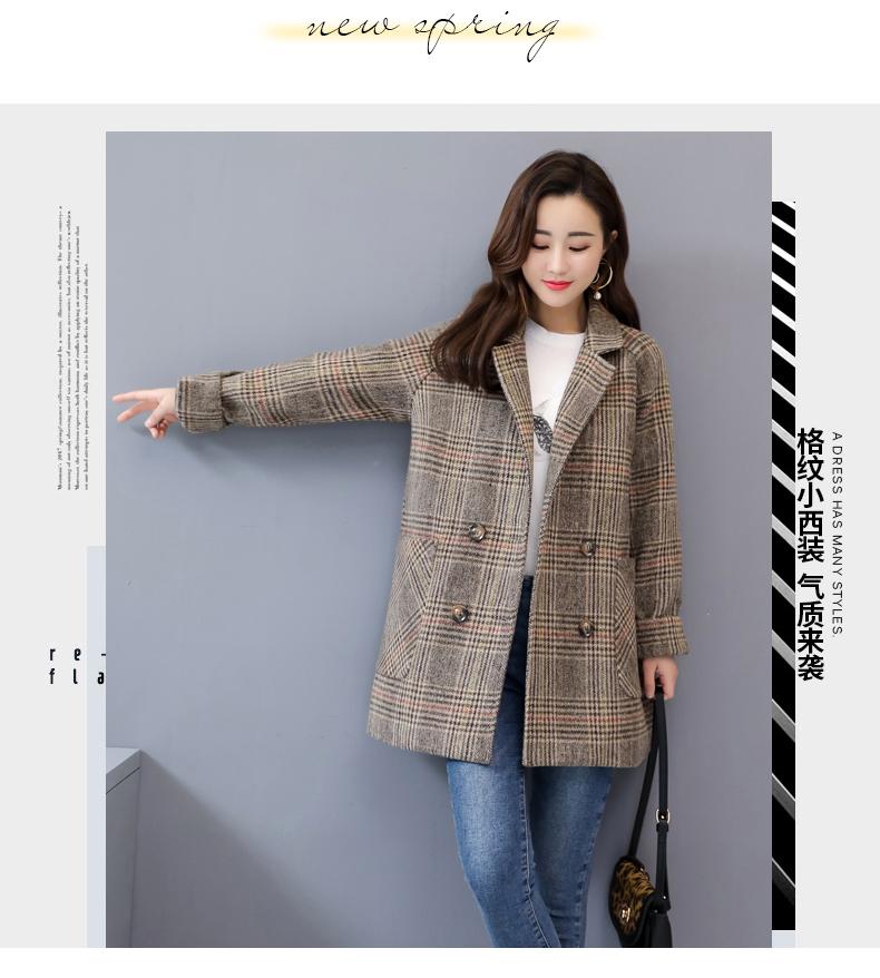 2020春季新款韩版双排扣格纹大气时尚小西装外套